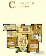 苏高新天城花园3室2厅2卫117平方米户型图