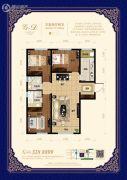 宏泰铂郡3室2厅2卫123平方米户型图