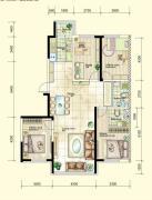 红晟陶然庭苑4室2厅2卫140平方米户型图