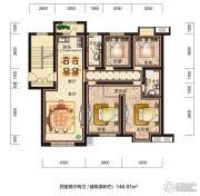 恒威滨江国际4室2厅2卫146平方米户型图