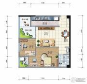 昆明广场2室2厅1卫76平方米户型图