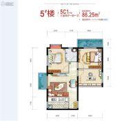 西安深国投中心3室2厅1卫86平方米户型图
