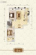 上官锦城2室2厅1卫81平方米户型图